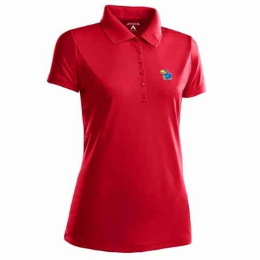Kansas Womens Pique Xtra Lite Polo Shirt (Color: Red)
