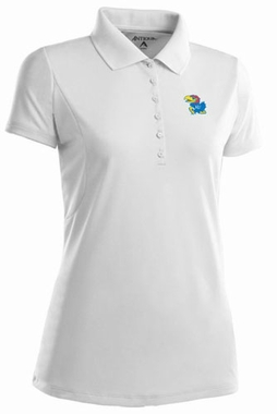Kansas Womens Pique Xtra Lite Polo Shirt (Color: White)