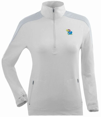 Kansas Womens Succeed 1/4 Zip Performance Pullover (Color: White)