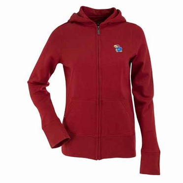 Kansas Womens Zip Front Hoody Sweatshirt (Alternate Color: Red)