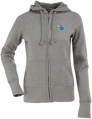 Kansas Womens Zip Front Hoody Sweatshirt (Color: Gray)