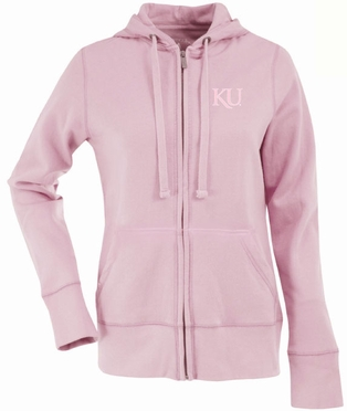 Kansas Womens Zip Front Hoody Sweatshirt (Color: Pink)