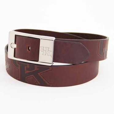 Kentucky Brown Leather Brandished Belt