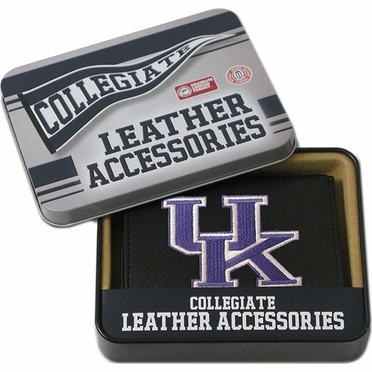 Kentucky Embroidered Leather Tri-Fold Wallet