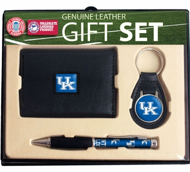 Kentucky Trifold Wallet Key Fob and Pen Gift Set