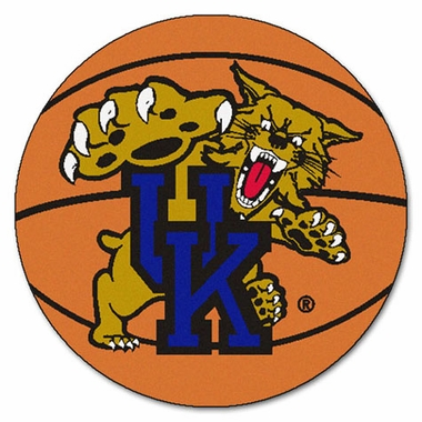 "Kentucky ""With Wildcat"" Basketball Shaped Rug"