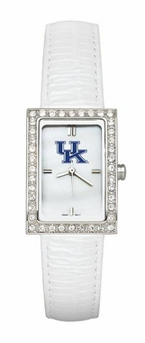 Kentucky Women's White Leather Strap Allure Watch