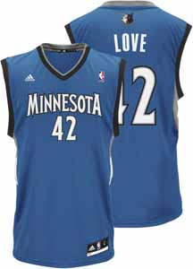 Kevin Love Adidas YOUTH Minnesota Timberwolves Replica Blue Jersey - Small