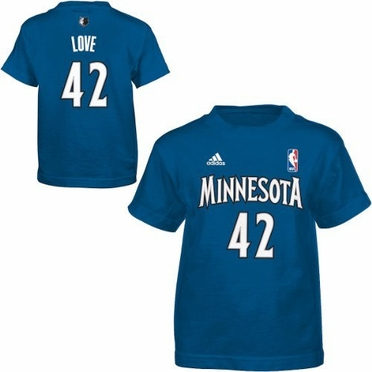 Kevin Love Minnesota Timberwolves YOUTH Adidas NBA Blue Player T-Shirt