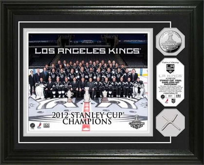 Los Angeles Kings LA Kings Stanley Cup Champs Game Used Net Silver Coin Photomint