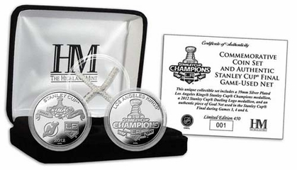 Los Angeles Kings LA Kings Stanley Cup Champs Game Used Net Silver Coin Set