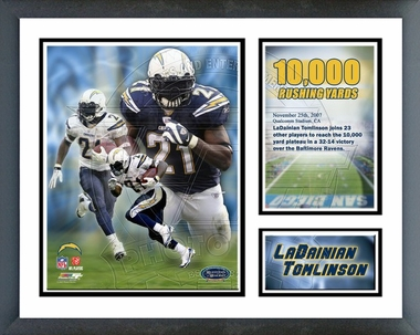 LaDainian Tomlinson 2007 10,000 Rushing Yards / Framed Milestones & Memories