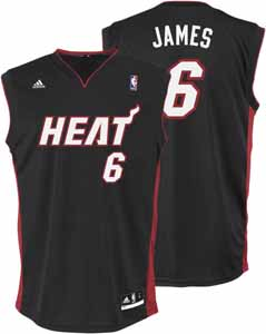 Lebron James Adidas Miami Heat Replica Black YOUTH Jersey - Large