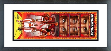 Lebron James, Dwyane Wade, Chris Bosh 2010 Vertical Framed / Double Matted Photoramic