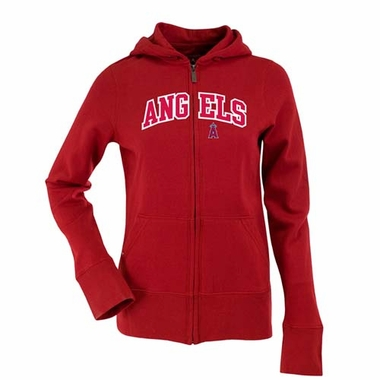 Los Angeles Angels Applique Womens Zip Front Hoody Sweatshirt (Team Color: Red)