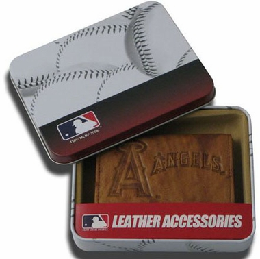 Los Angeles Angels Embossed Leather Trifold Wallet