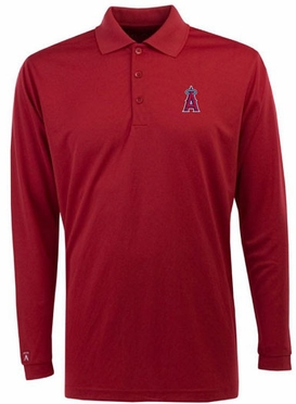 Los Angeles Angels Mens Long Sleeve Polo Shirt (Team Color: Red)