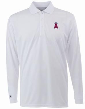 Los Angeles Angels Mens Long Sleeve Polo Shirt (Color: White)