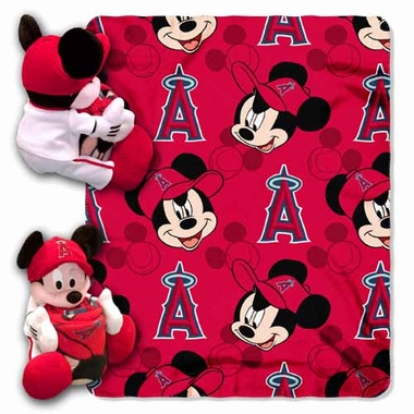 Los Angeles Angels Mickey Mouse Pillow / Throw Combo