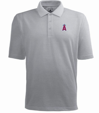 Los Angeles Angels Mens Pique Xtra Lite Polo Shirt (Color: Gray)