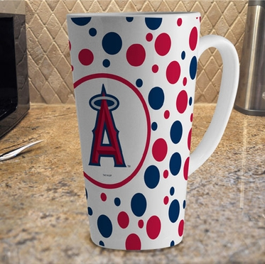 Los Angeles Angels Polkadot 16 oz. Ceramic Latte Mug