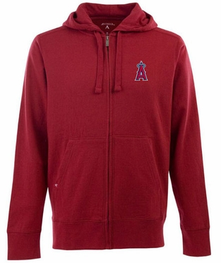 Los Angeles Angels Mens Signature Full Zip Hooded Sweatshirt (Team Color: Red)