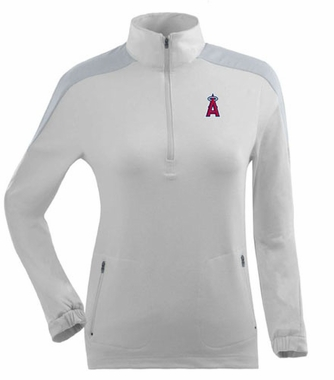 Los Angeles Angels Womens Succeed 1/4 Zip Performance Pullover (Color: White)