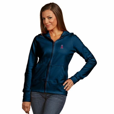 Los Angeles Angels Womens Zip Front Hoody Sweatshirt (Alternate Color: Navy)