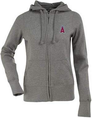 Los Angeles Angels Womens Zip Front Hoody Sweatshirt (Color: Gray)