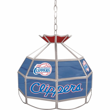 Los Angeles Clippers 16 Inch Diameter Stained Glass Pub Light
