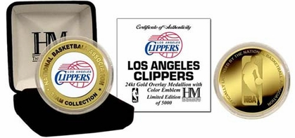 Los Angeles Clippers LOS ANGELES CLIPPERS 24KT Gold and Color Team Logo Coin
