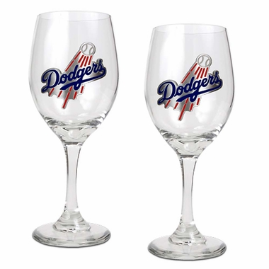 Los Angeles Dodgers 2 Piece Wine Glass Set
