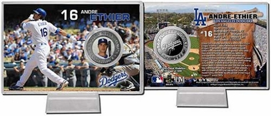 Los Angeles Dodgers Andre Ethier Silver Plate Coin Card