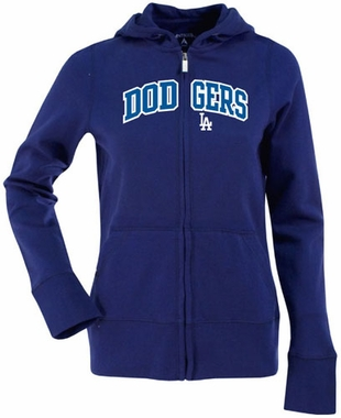 Los Angeles Dodgers Applique Womens Zip Front Hoody Sweatshirt (Color: Royal)