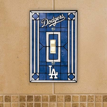 Los Angeles Dodgers Art Glass Lightswitch Cover