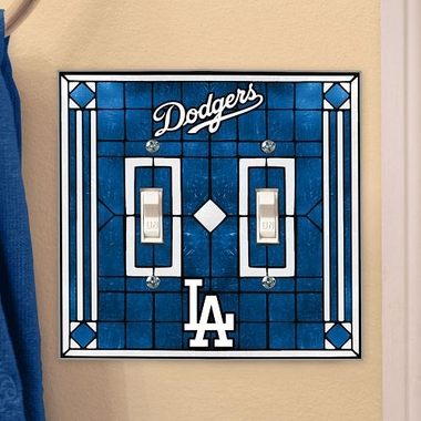 Los Angeles Dodgers Art Glass Lightswitch Cover (Double)