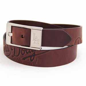Los Angeles Dodgers Brown Leather Brandished Belt - 32 Waist