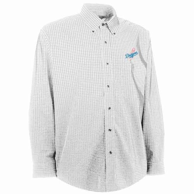 Los Angeles Dodgers Mens Esteem Check Pattern Button Down Dress Shirt (Color: White)