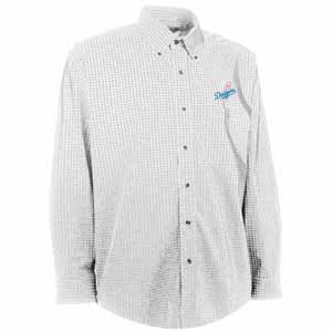 Los Angeles Dodgers Mens Esteem Check Pattern Button Down Dress Shirt (Color: White) - Medium