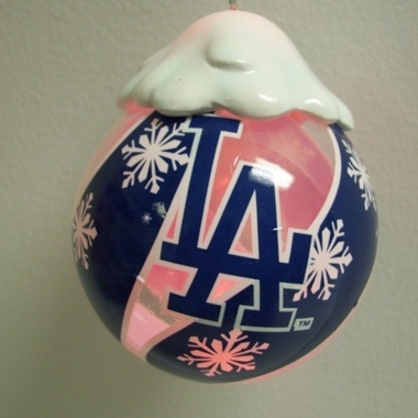 Los Angeles Dodgers Light Up Glass Ball Ornament