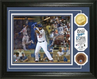"Los Angeles Dodgers Matt Kemp ""Triple Play"" Game Used Dirt Coin Photo Mint"