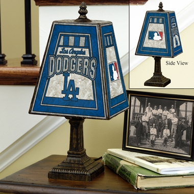 Los Angeles Dodgers Small Art Glass Lamp