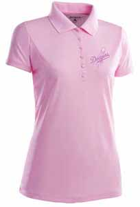 Los Angeles Dodgers Womens Pique Xtra Lite Polo Shirt (Color: Pink) - Small