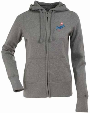 Los Angeles Dodgers Womens Zip Front Hoody Sweatshirt (Color: Gray)