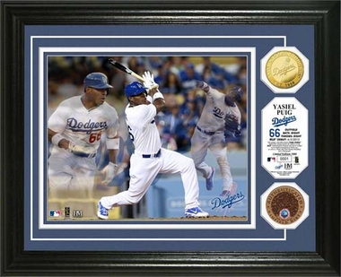 "Los Angeles Dodgers Yasiel Puig ""Triple Play"" Game Used Dirt Coin Photo Mint"