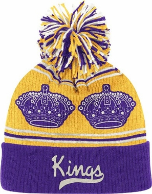 Los Angeles Kings CCM Repeating Logo Cuffed Pom Knit Hat