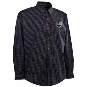 Los Angeles Kings Mens Esteem Check Pattern Button Down Dress Shirt (Team Color: Black) - Large