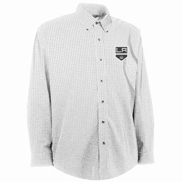 Los Angeles Kings Mens Esteem Check Pattern Button Down Dress Shirt (Color: White)
