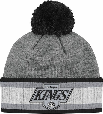 Los Angeles Kings Jersey Stripe Vintage Cuffed Pom Hat (Grey)