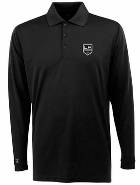 Los Angeles Kings Mens Long Sleeve Polo Shirt (Team Color: Black)